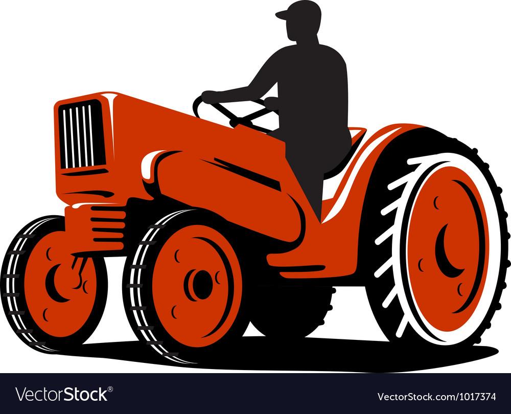 Farmer Driving Vintage Tractor Retro vector image