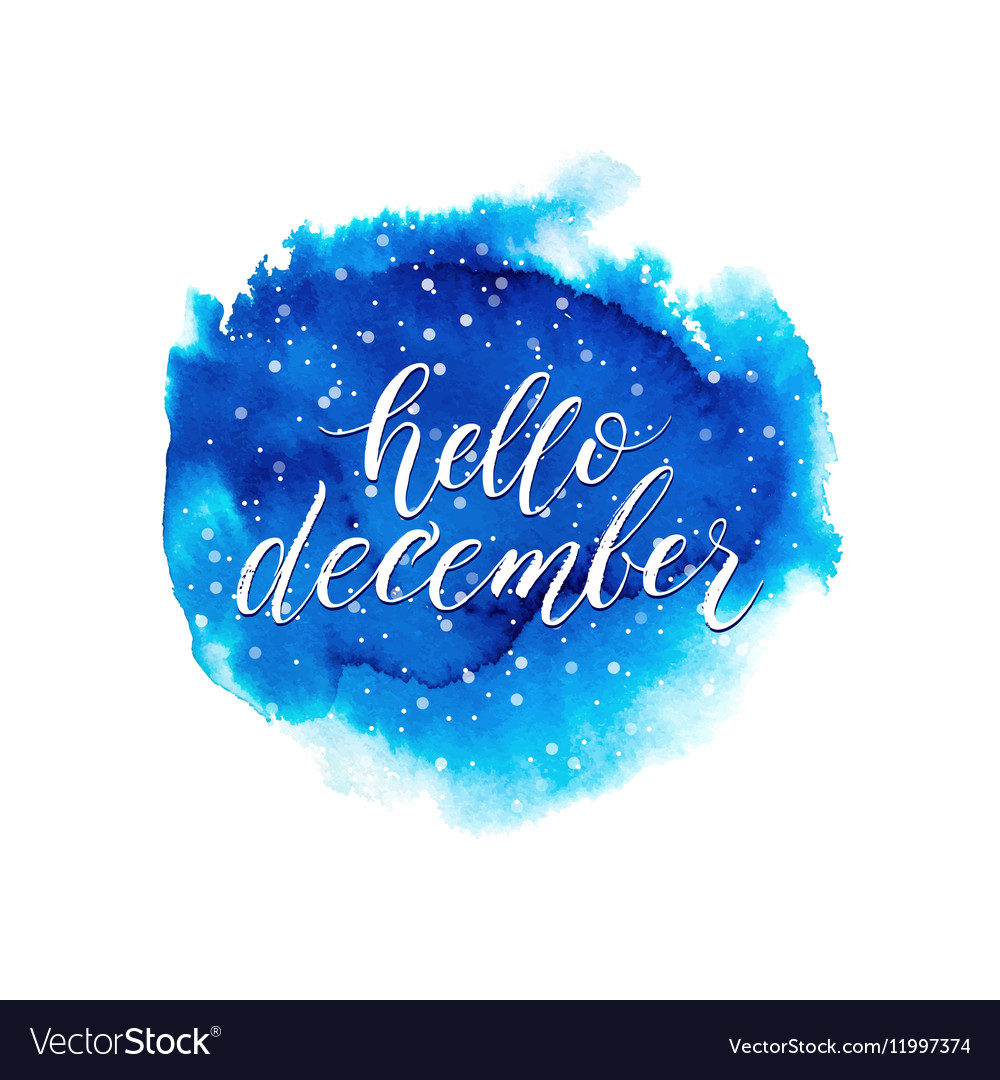 Hello december text on blue watercolor splash