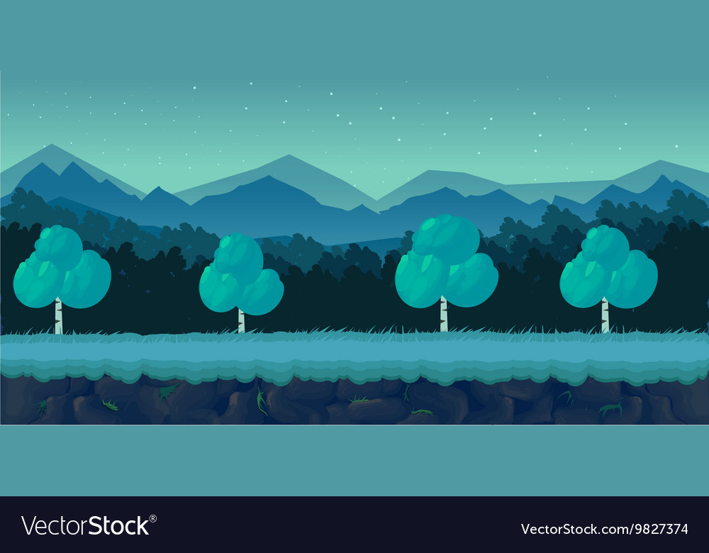 Night Forest Game Background for 2d application