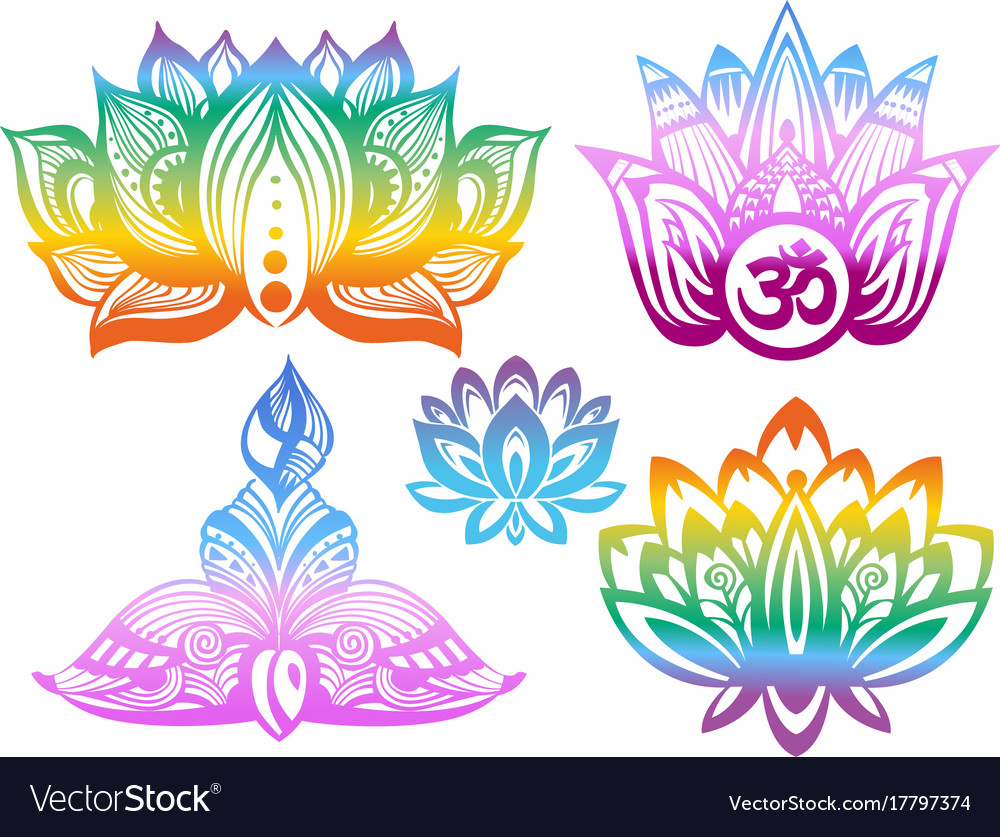 Ornamental Color Lotus Flowers Royalty Free Vector Image