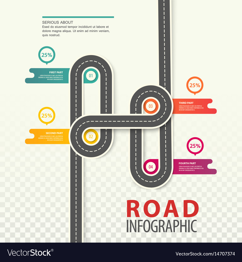 Road or highway car path top view infographic