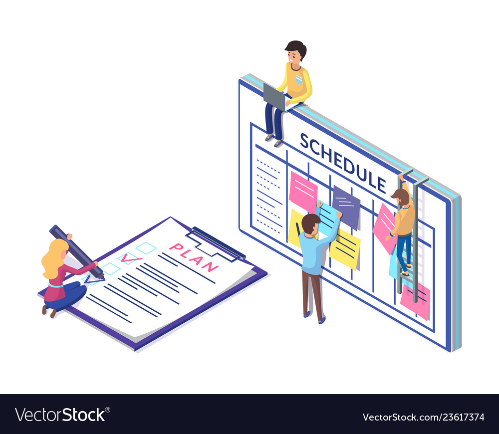 Schedule planning on clipboard business strategy