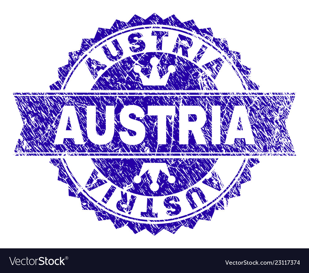 Scratched Textured Austria Stamp Seal With Ribbon Vector Image