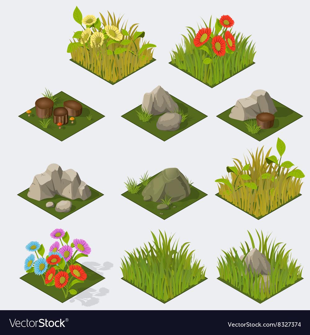 Set of Isometric landscape Tiles