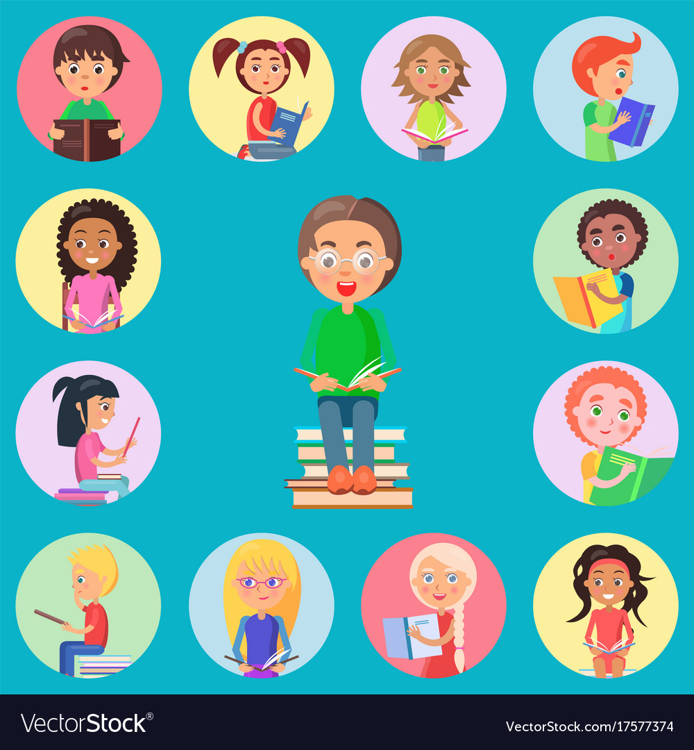 Small icons with read children on blue background