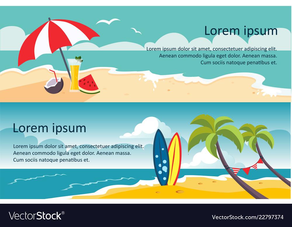 Summer travel horizontal banners sandy beach