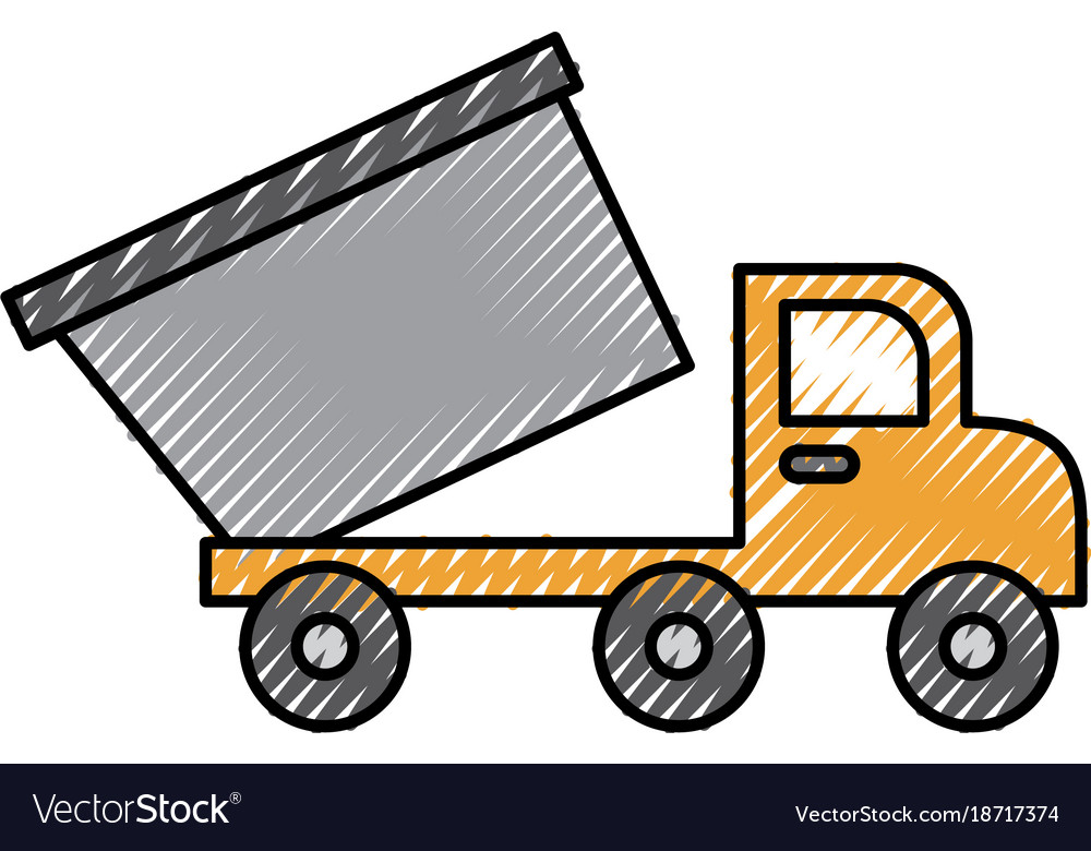 Tipper truck construction loose material vector image