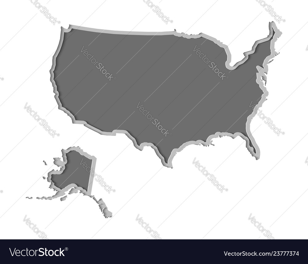 Usa map paper cut country isolated on a white