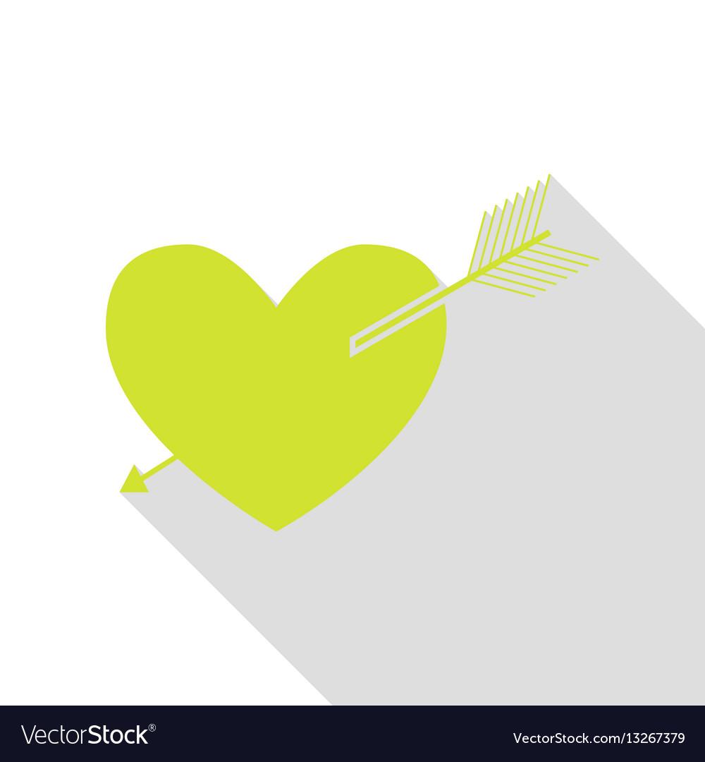 Arrow heart sign pear icon with flat style shadow vector image