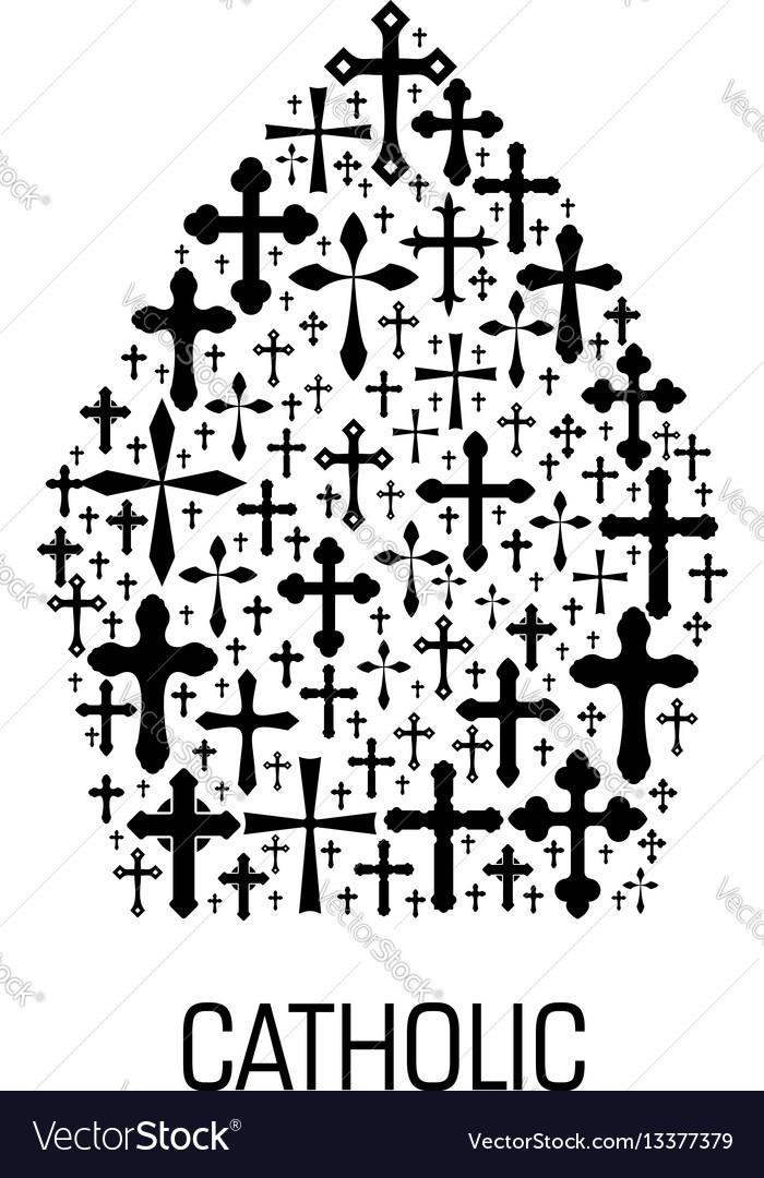 Catholic mitre hat shape emblem with cross icons