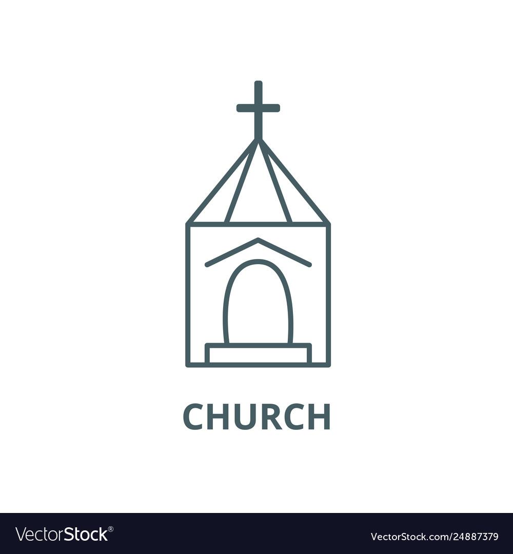 Church wedding line icon church wedding