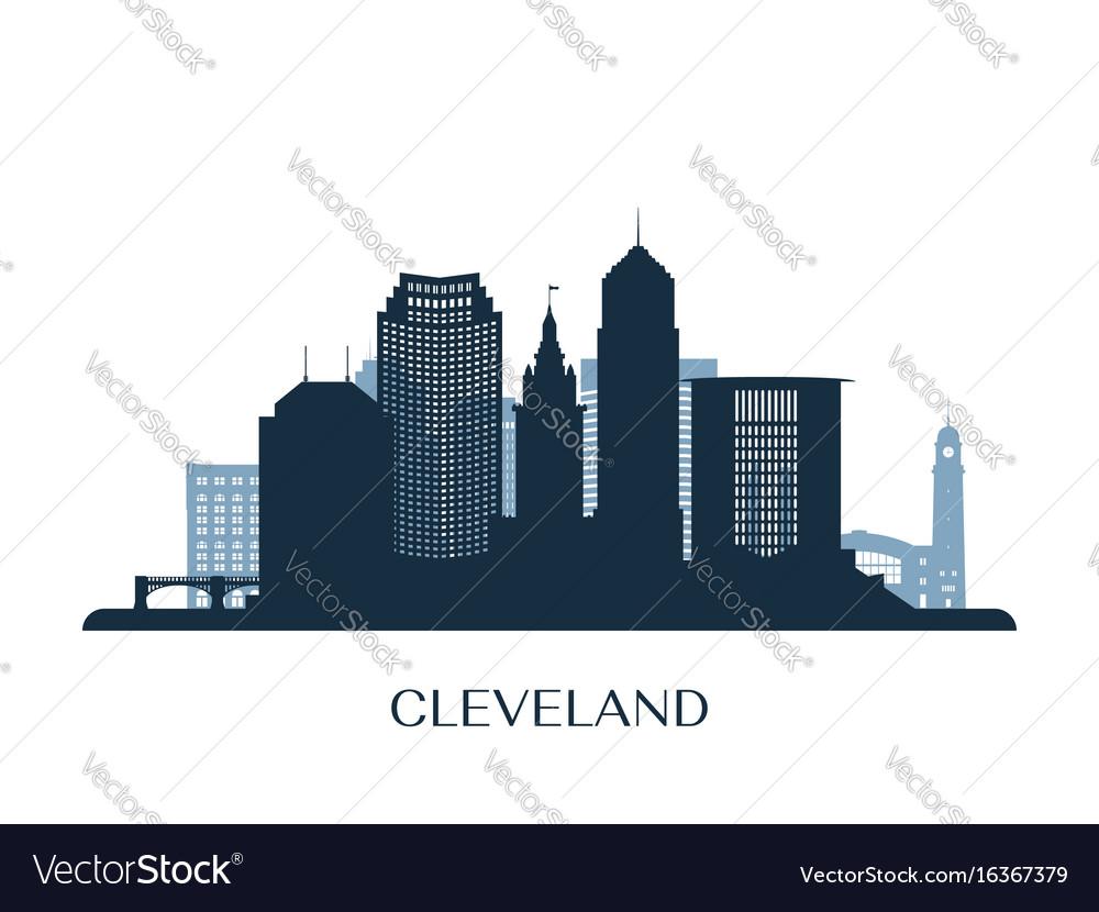 Cleveland skyline monochrome silhouette