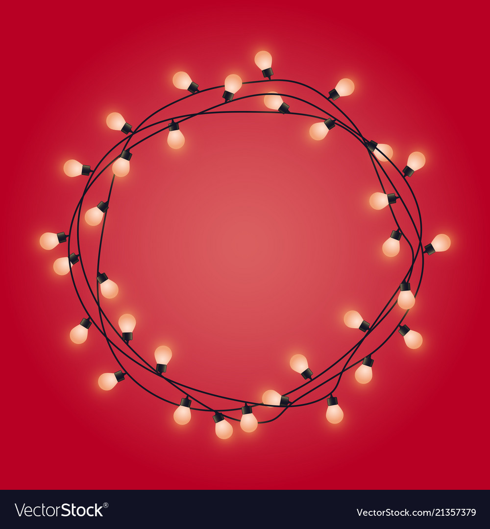 Garland frame with glowing lamps decorative