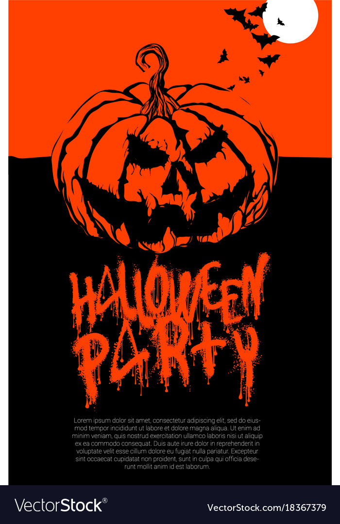 Halloween pumpkin horror party poster