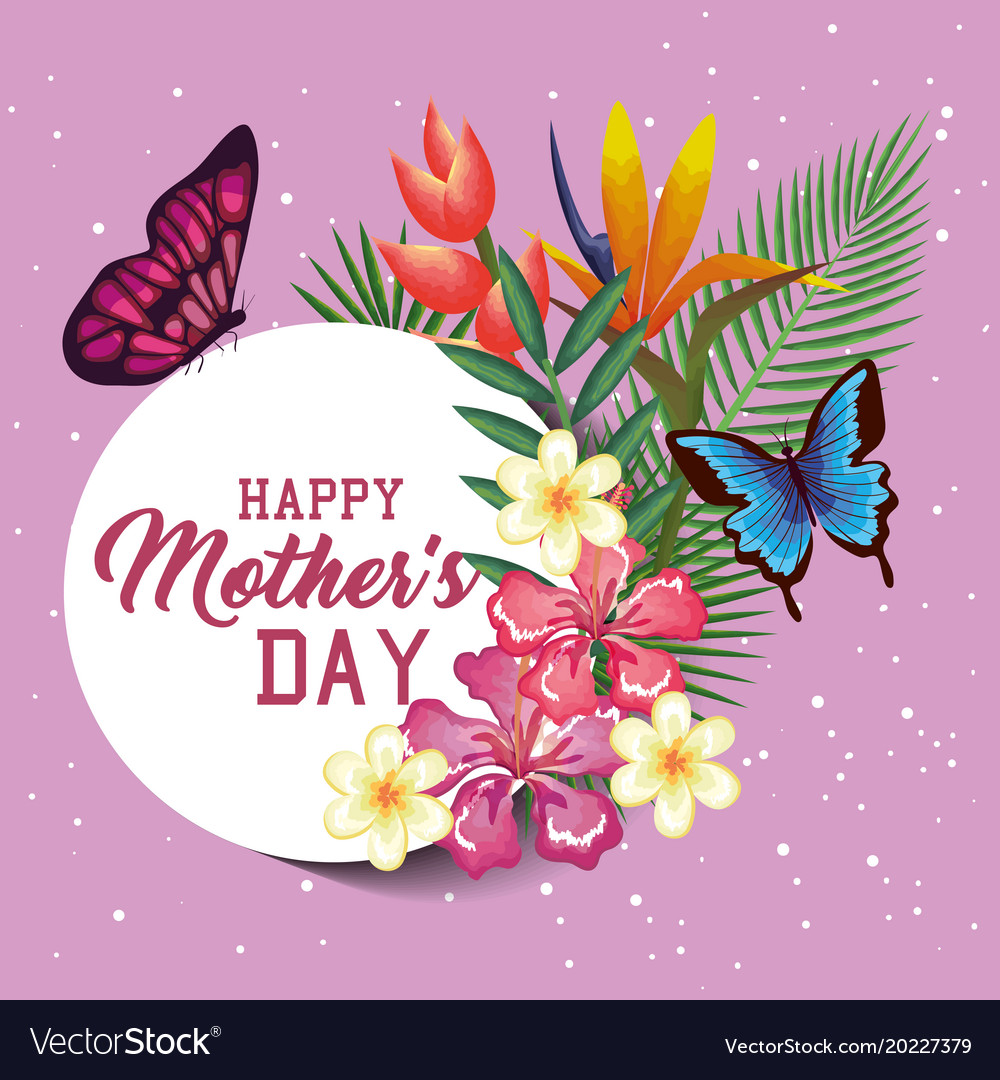 Happy mothers day card with floral decoration vector image m4hsunfo