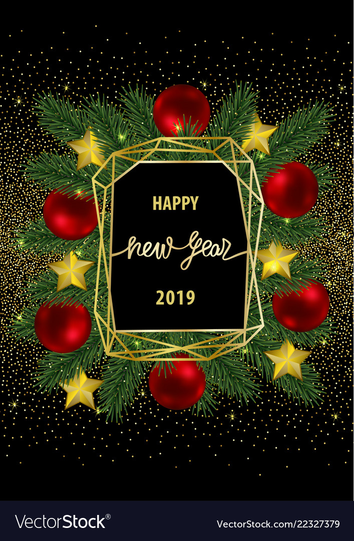 Happy new year 2019 card with gold geometric frame