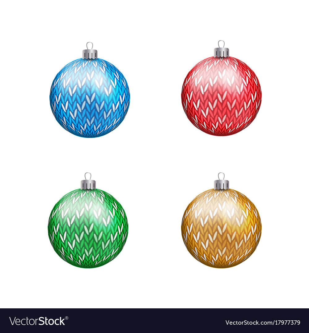 Knitted christmas balls in various colors isolated