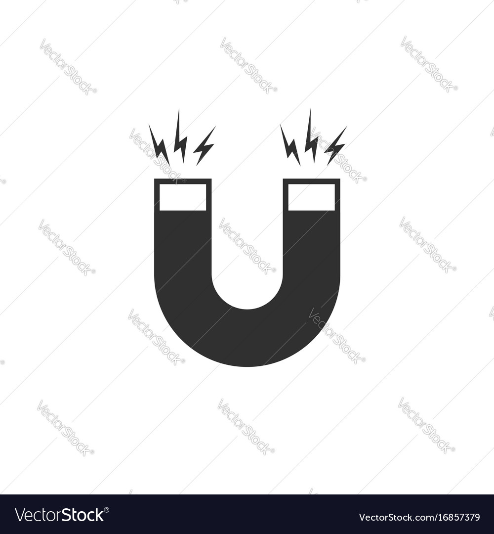 Magnet icon flat cartoon black and white Vector Image