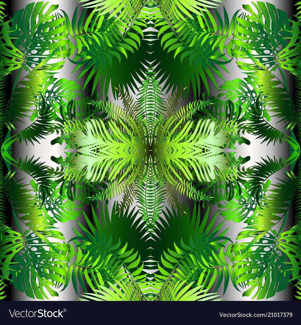 Palm leaves decorative seamless pattern