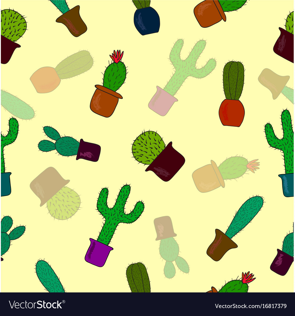 Seamless pattern with cute cactus on yellow