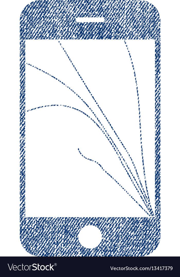 Smartphone screen cracks fabric textured icon