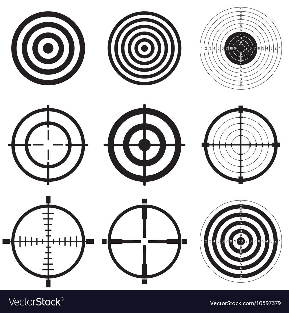Sniper scope and shooting target icons vector image