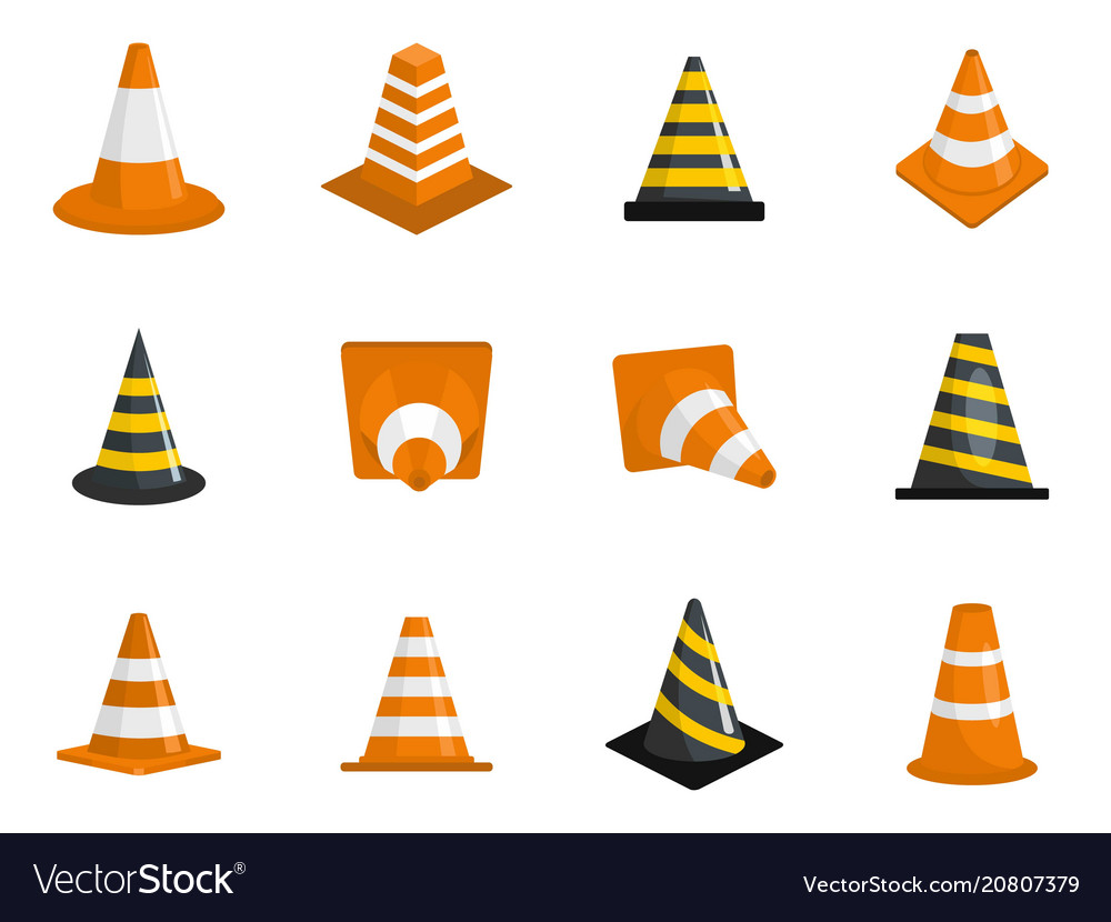Traffic cone icons set isolated