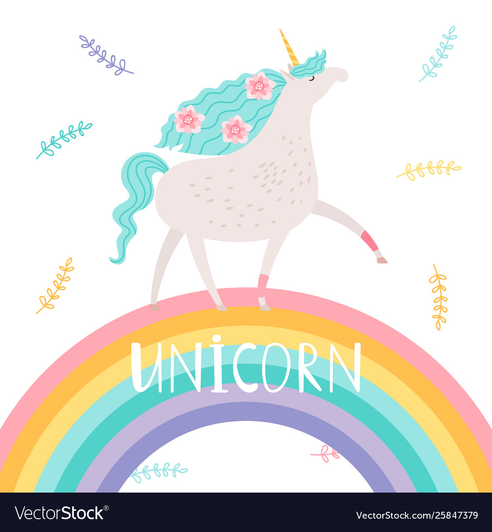 Unicorn with flowers and rainbow