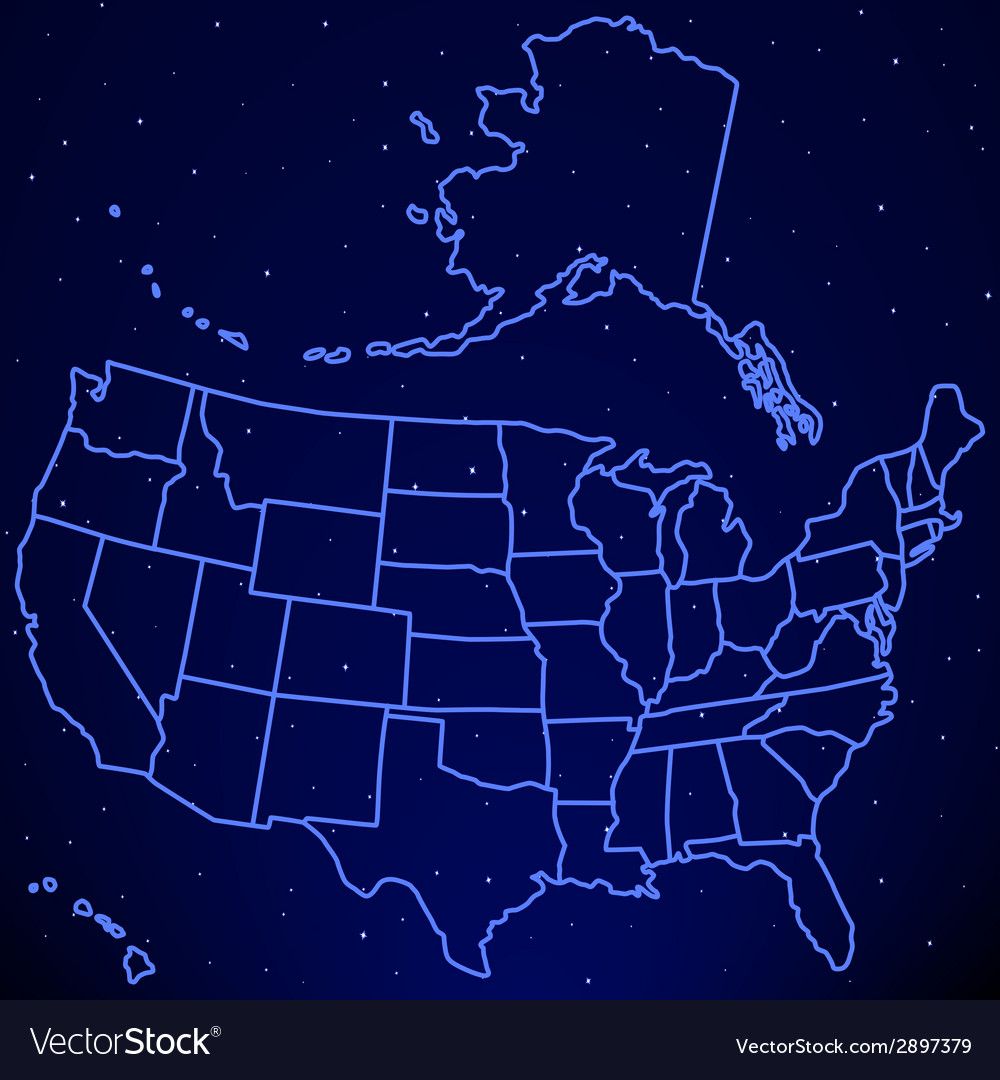 Map Of Usa At Night.Usa Map On Starry Sky Royalty Free Vector Image