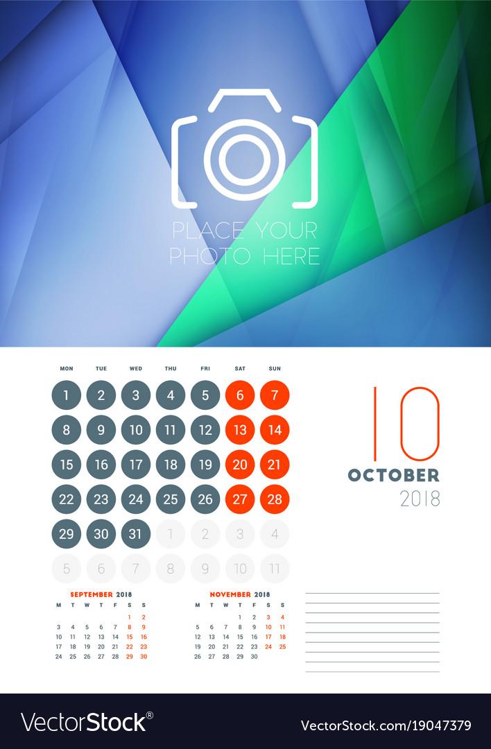 Wall Calendar Design Template   Wall Calendar Template For October 2018 Design Vector Image