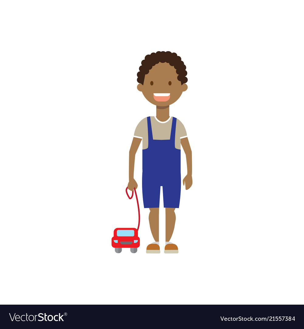 African boy brother with toys full length avatar