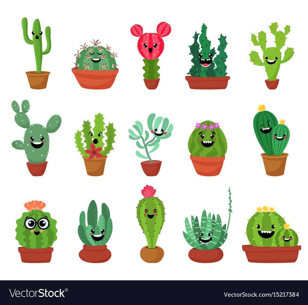 Big set cute cartoon cactus and succulents