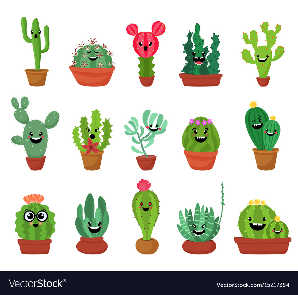 Big set of cute cartoon cactus and succulents with