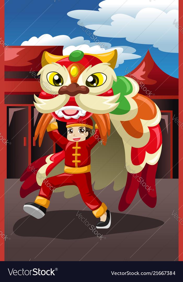 Boy doing a lion dance