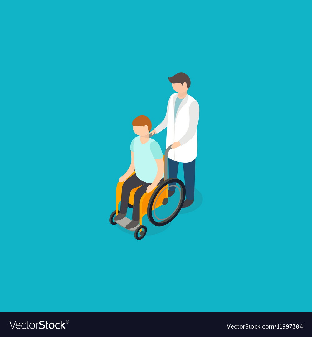 Disabled people help concept Isometric 3d