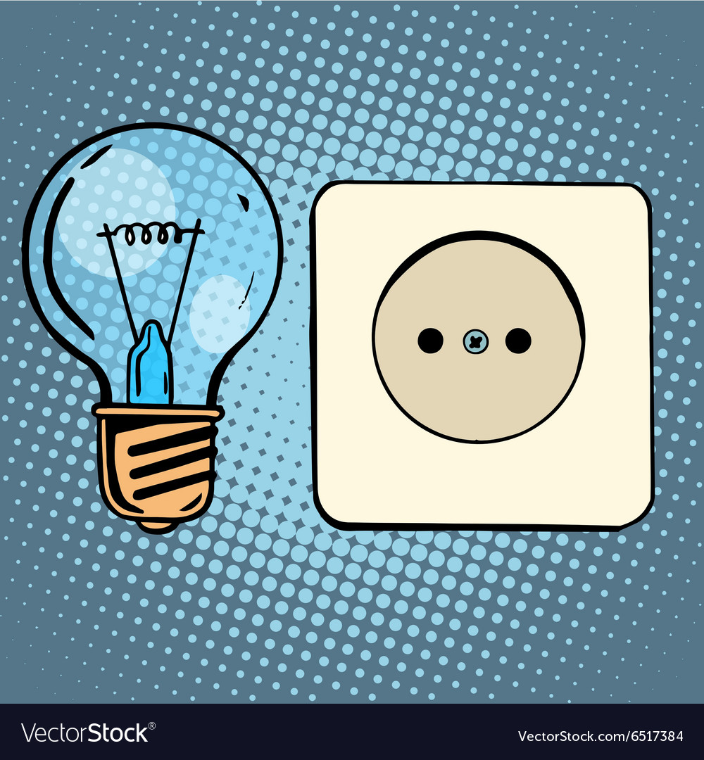 Electricity light bulb and socket vector image