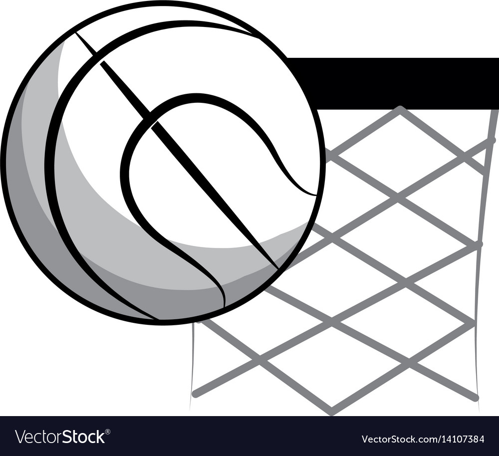 Figure basketball and basket with the ball icon