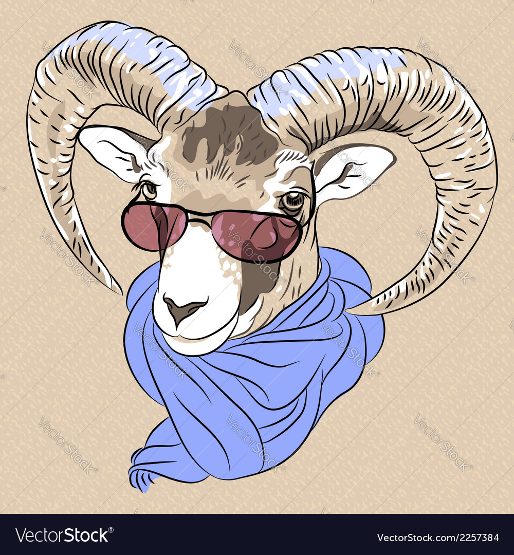 Funny Alpine ibex in red eyeglasses and scarf