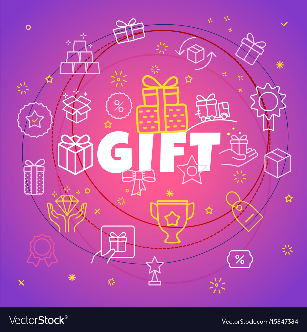 Gift concept different thin line icons included