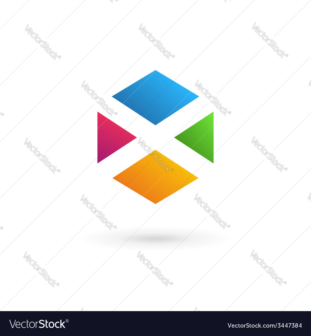 Letter X cube logo icon design template elements
