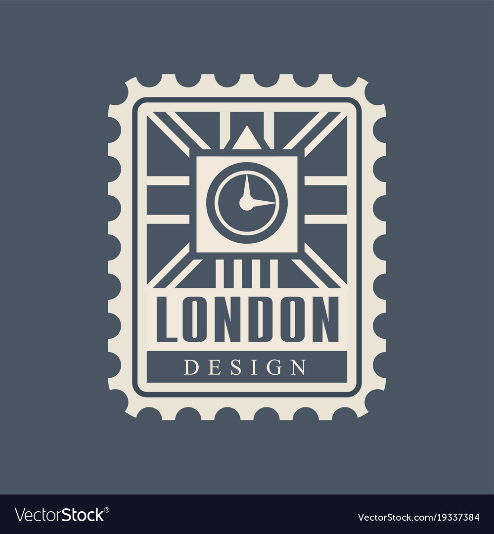 London city postal stamp with abstract big ben