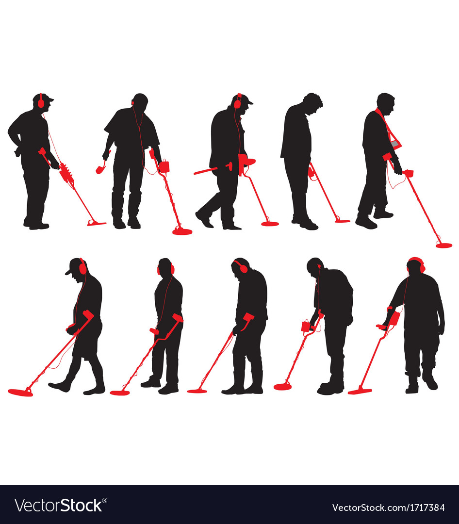Jew Detector: Metal Detecting Silhouettes Royalty Free Vector Image