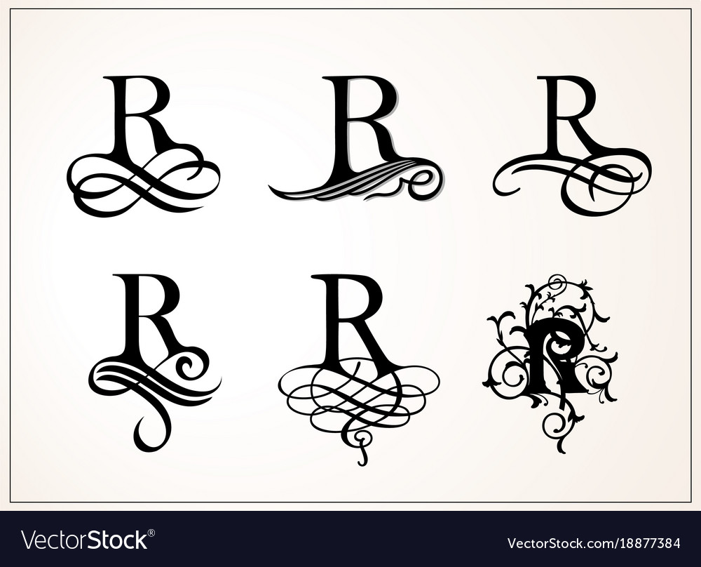 Vintage Set Capital Letter R For Monograms And Vector Image