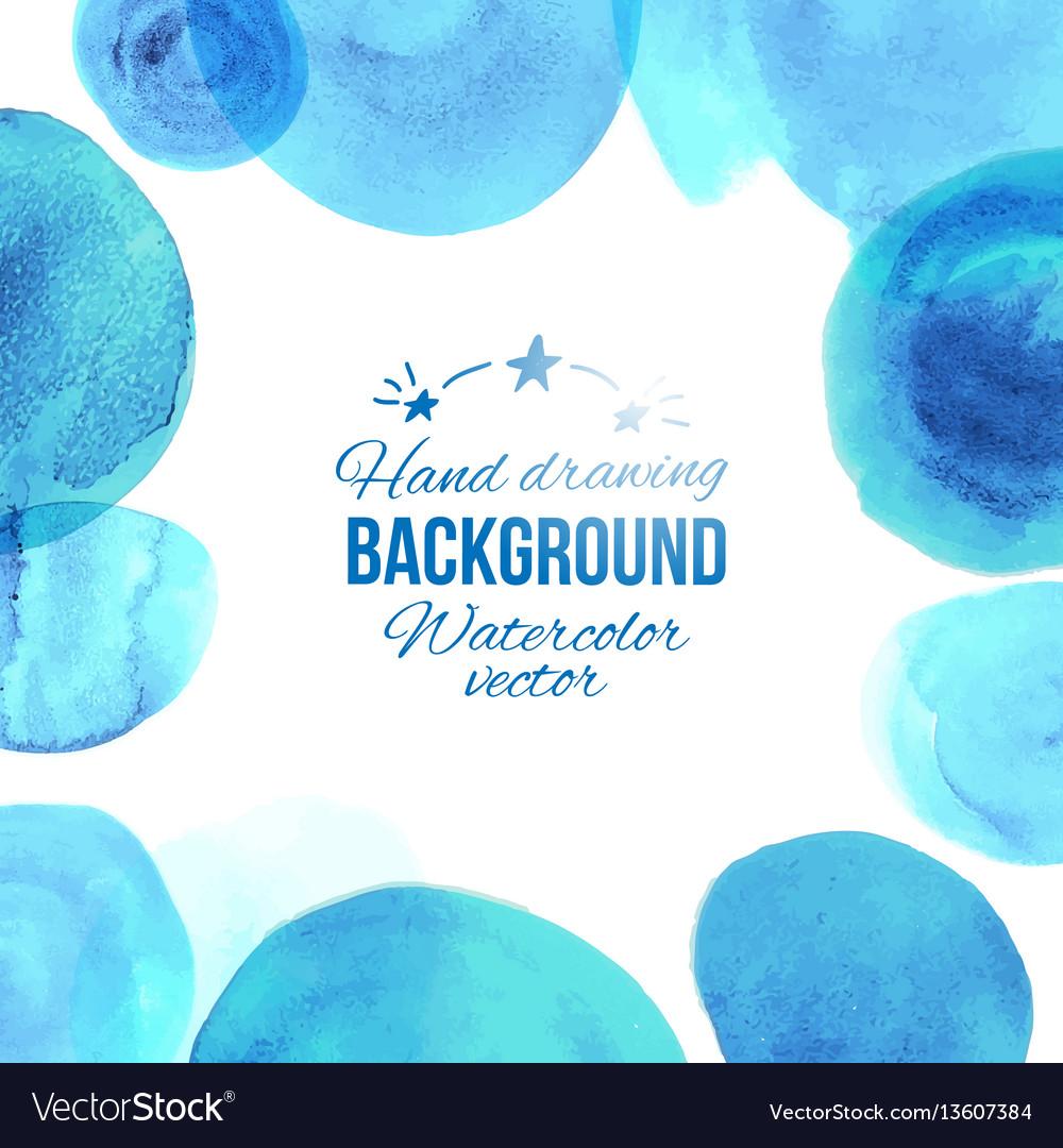 Watercolor blu circles frame