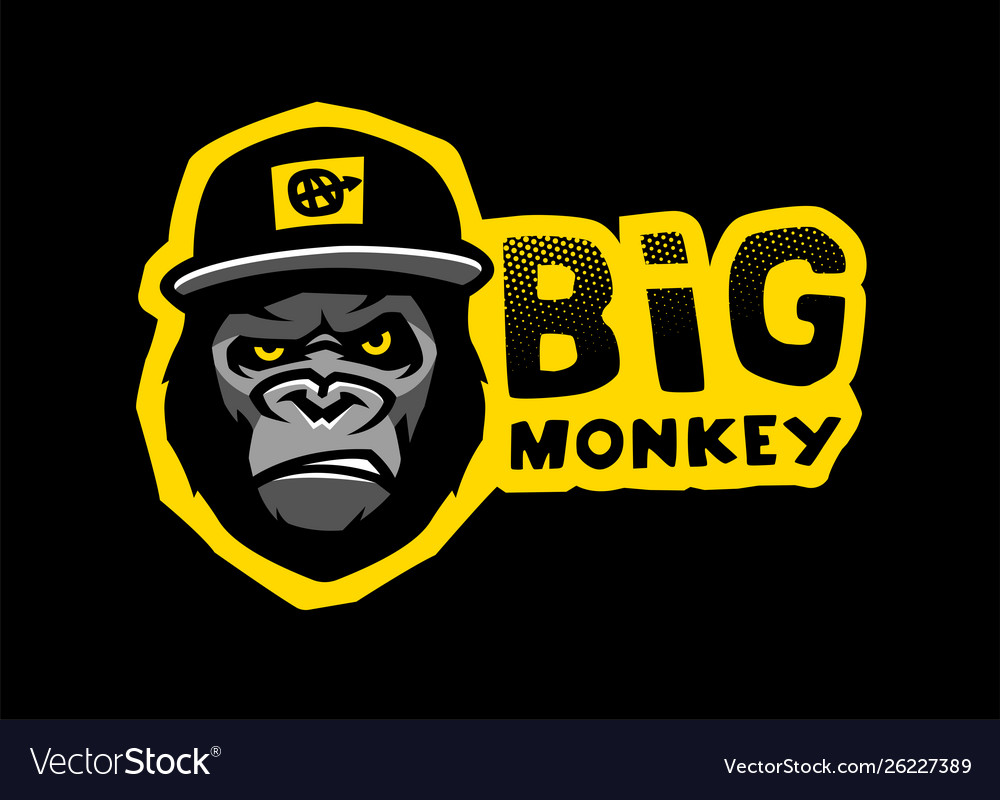 Angry gorilla head in baseball cap