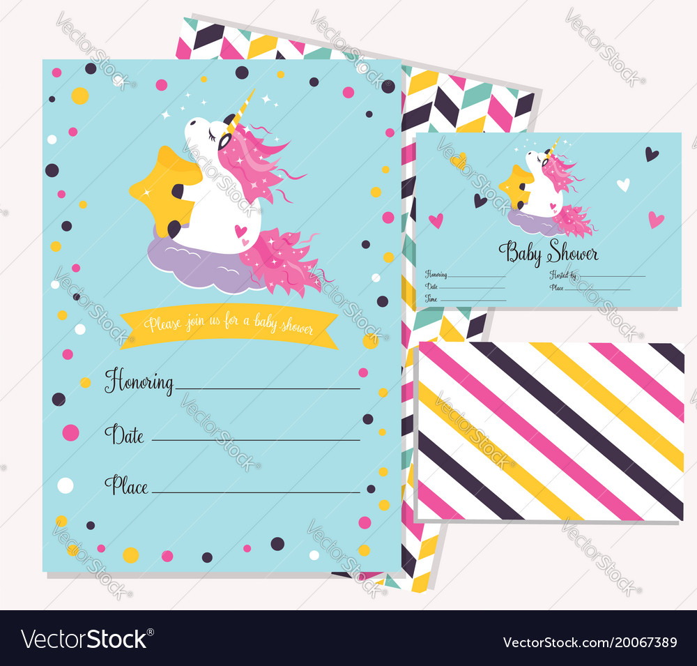Baby shower invitation template with cute unicorn vector image filmwisefo