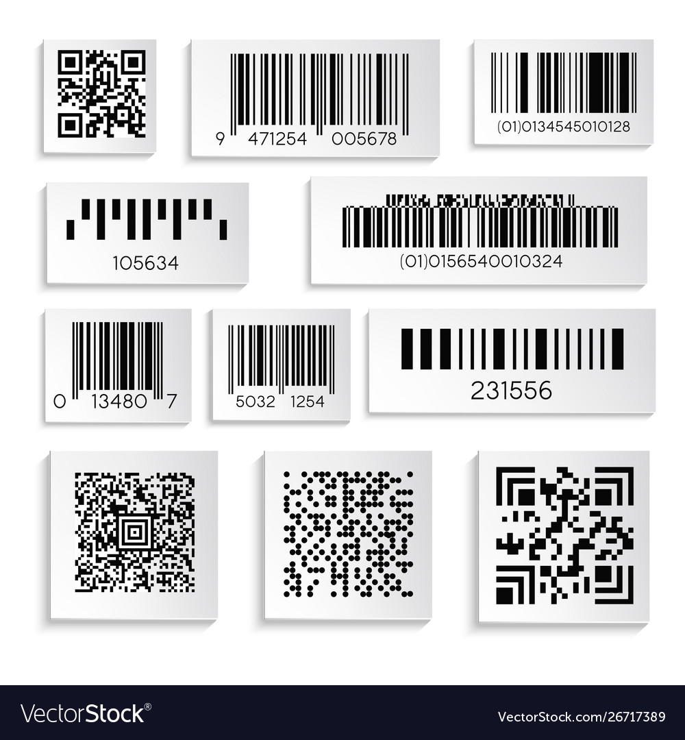 Barcodes or products sticker with cipher or serial