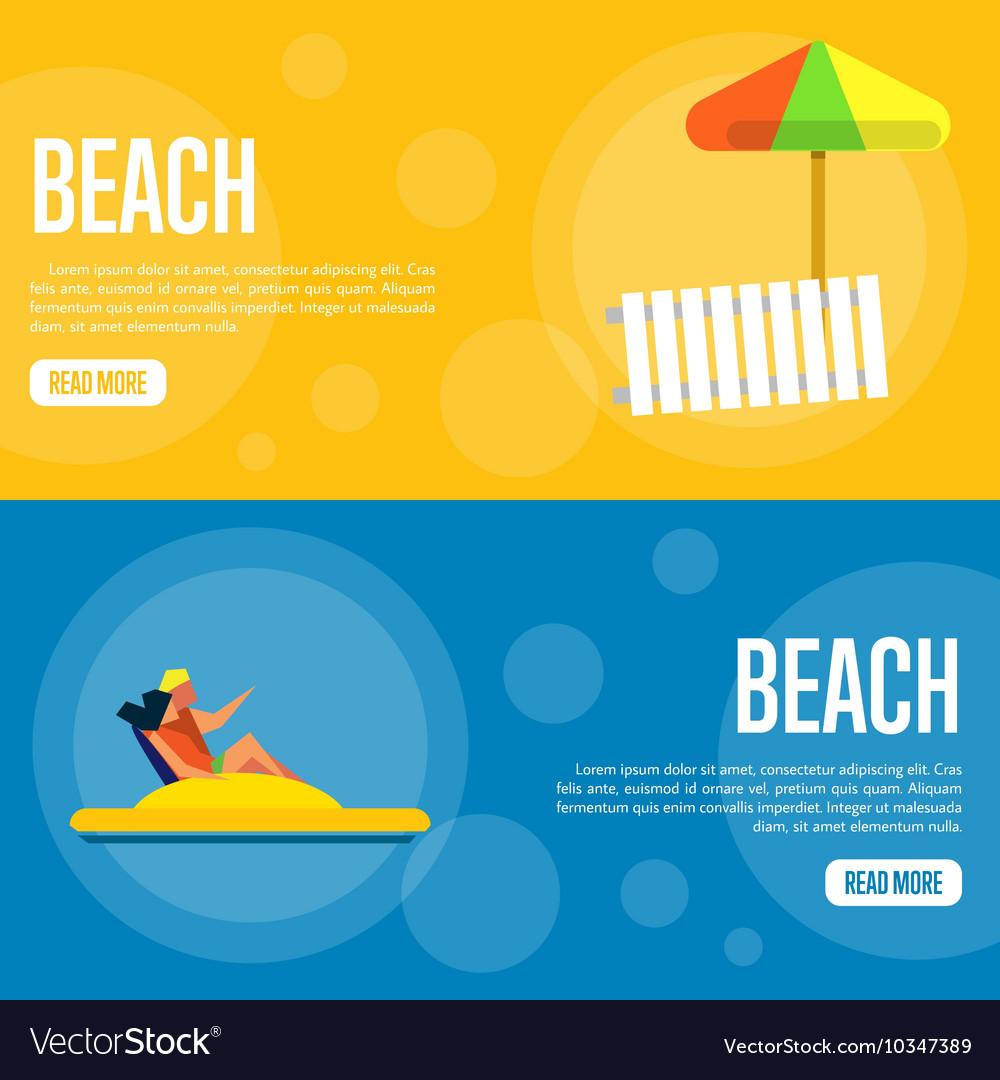 Beach Website Template Set Horizontal banners