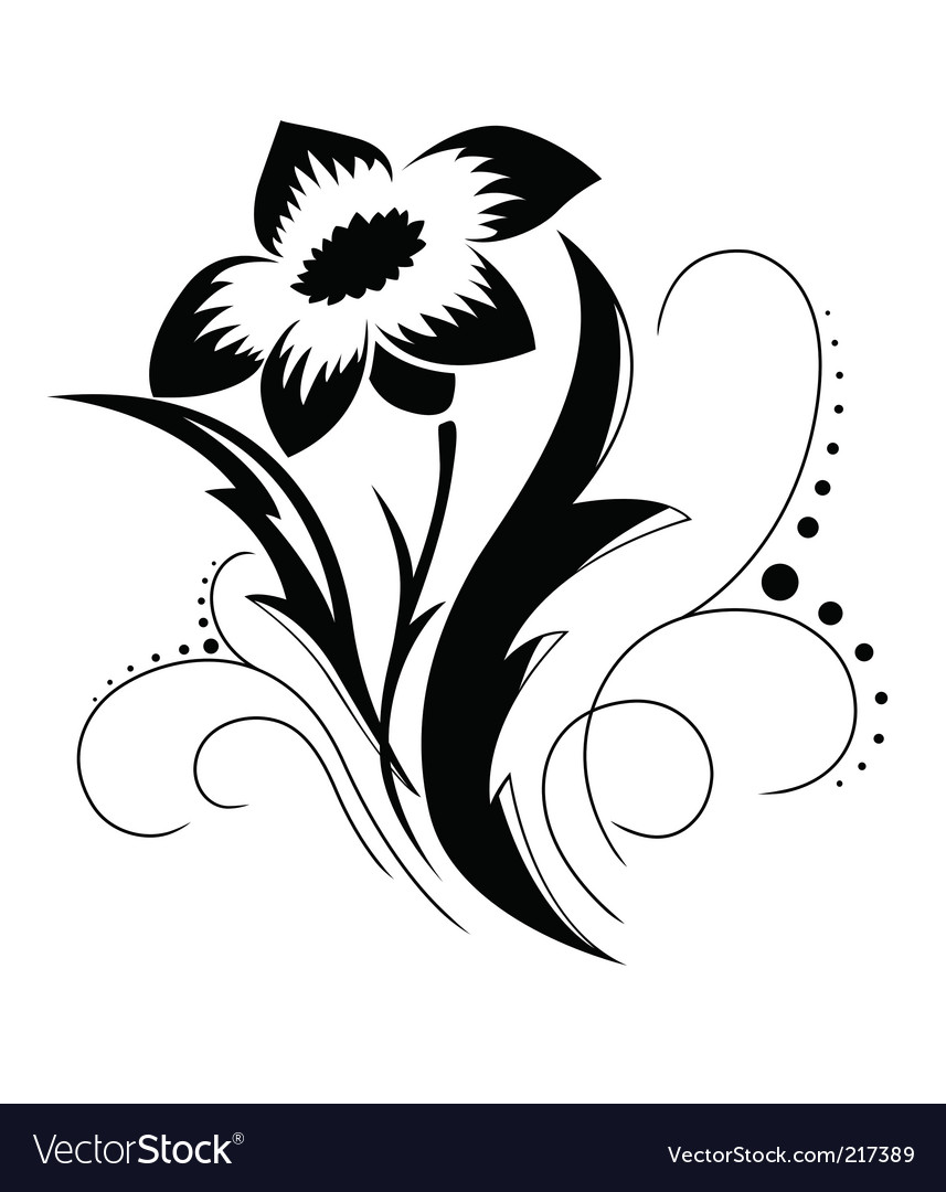 black and white floral pattern. Black A White Flower Pattern