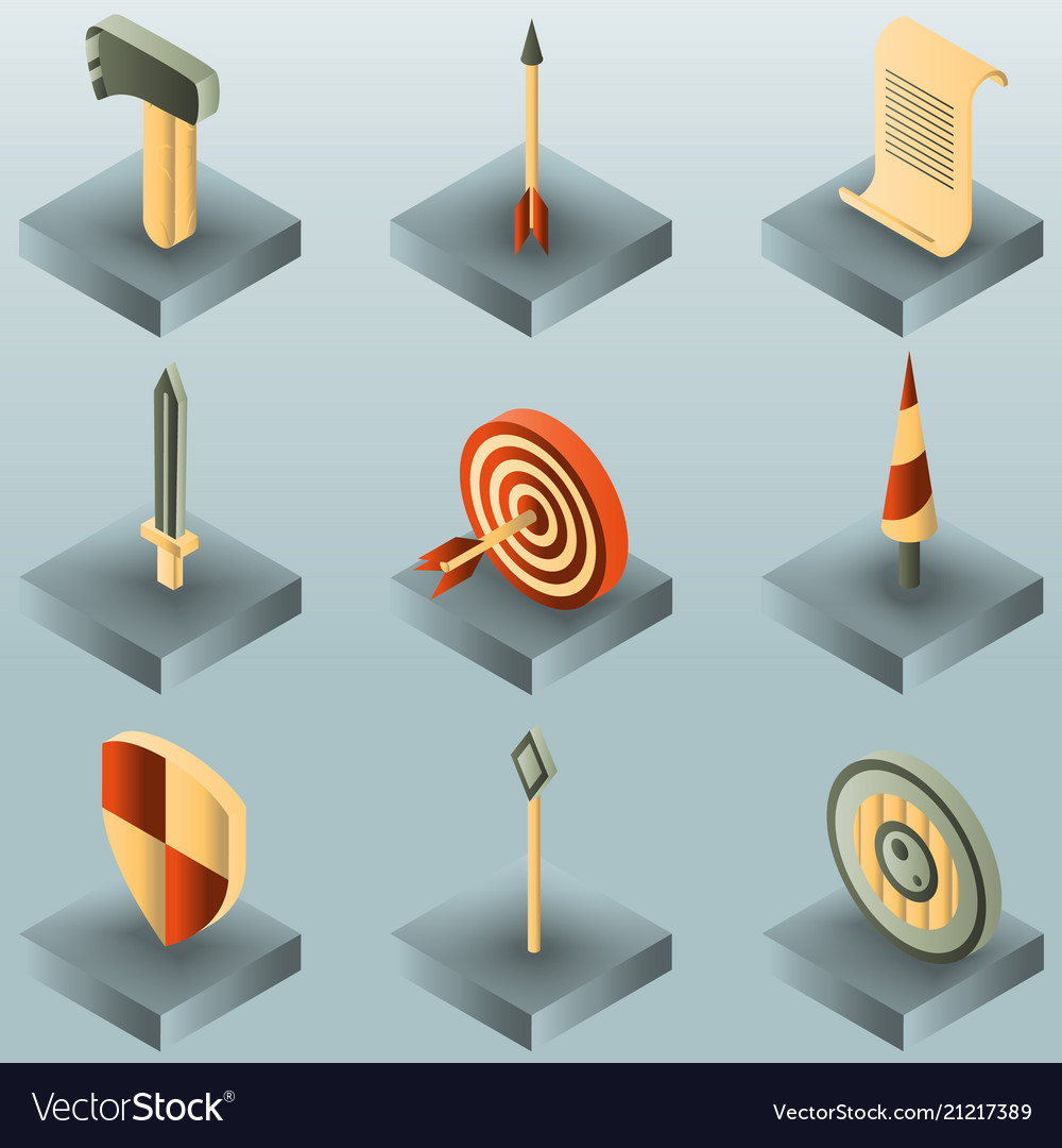 Castle color gradient isometric icons vector image